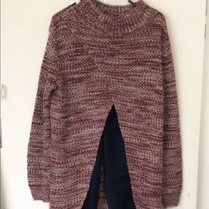 ASOS cream and burgundy sweater with open feature on tummy for new mummy